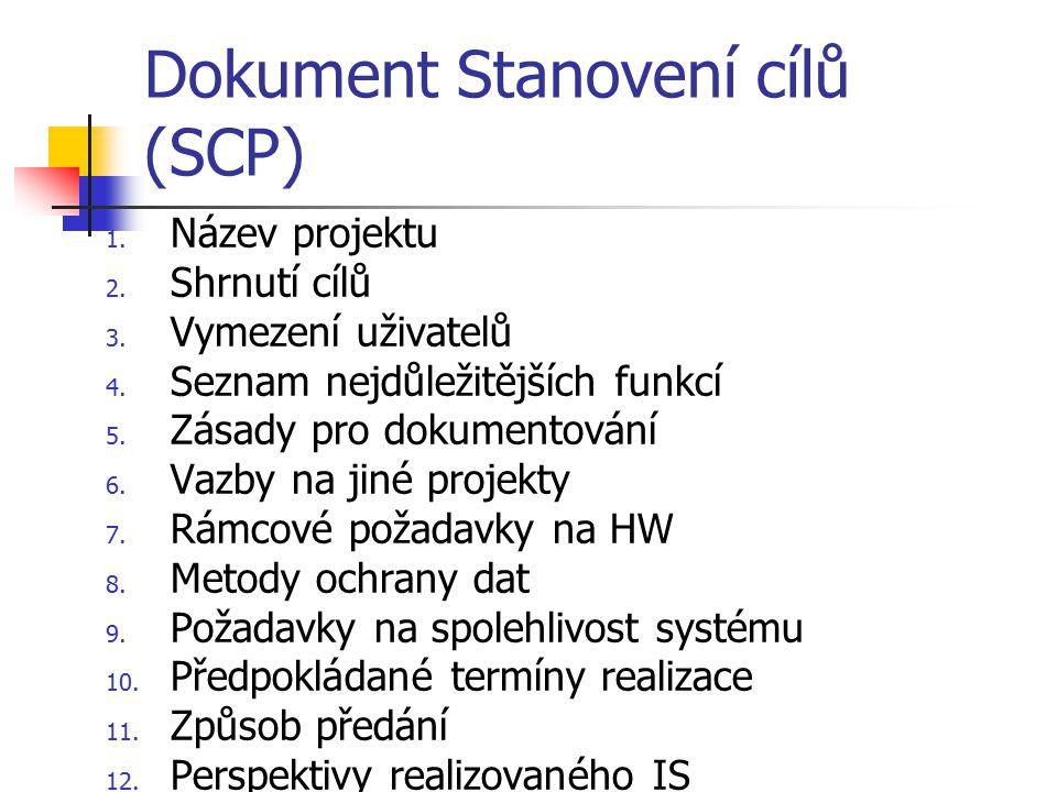 Dokument Stanovení cílů (SCP) 1. Název projektu 2. Shrnutí cílů 3. Vymezení uživatelů 4. Seznam nejdůležitějších funkcí 5. Zásady pro dokumentování 6.