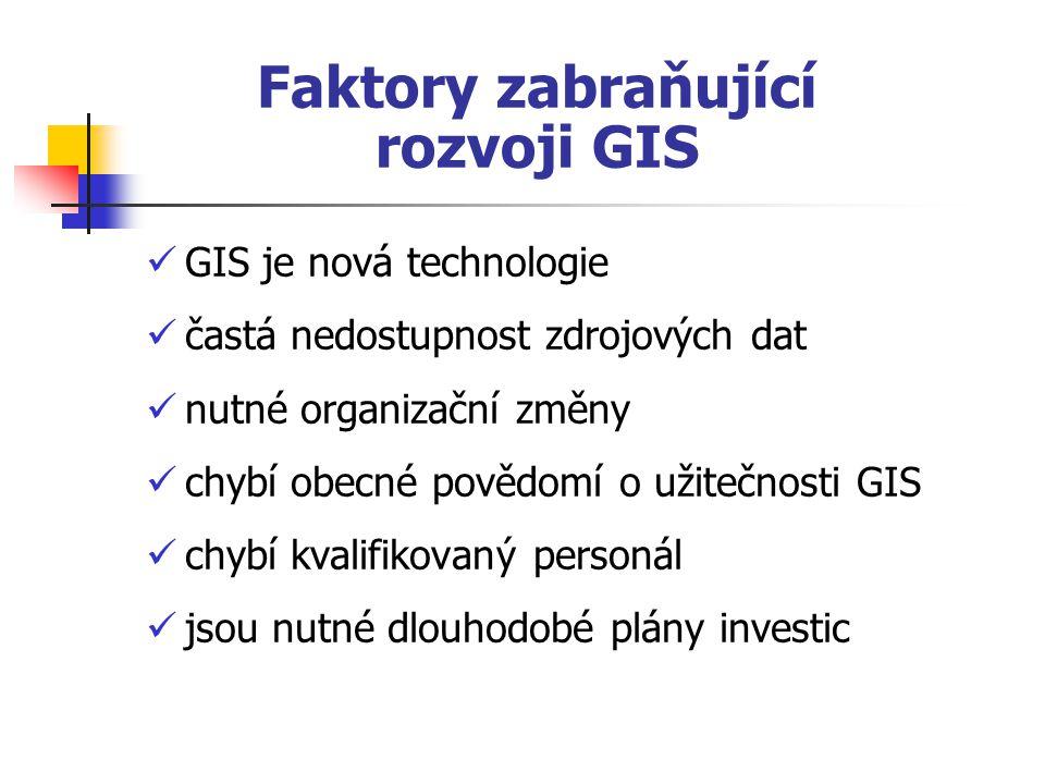 Faktory zabraňující rozvoji GIS GIS je nová technologie častá nedostupnost zdrojových dat nutné organizační změny chybí obecné povědomí o užitečnosti