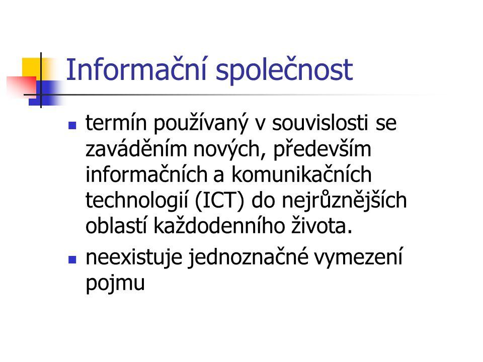 Informační společnost termín používaný v souvislosti se zaváděním nových, především informačních a komunikačních technologií (ICT) do nejrůznějších ob