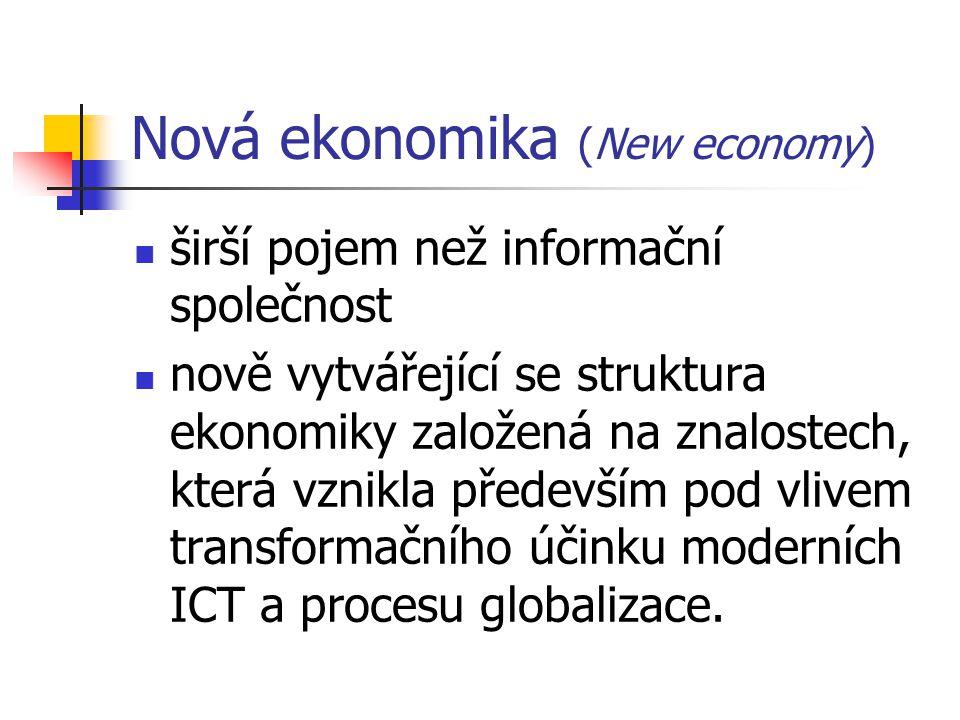 Nová ekonomika (New economy) širší pojem než informační společnost nově vytvářející se struktura ekonomiky založená na znalostech, která vznikla přede