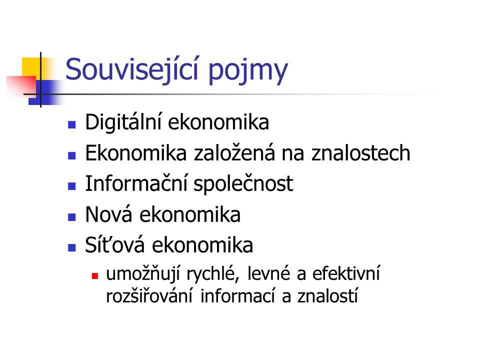 Související pojmy Digitální ekonomika Ekonomika založená na znalostech Informační společnost Nová ekonomika Síťová ekonomika umožňují rychlé, levné a