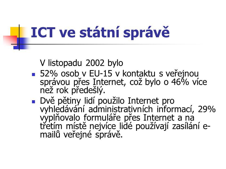 ICT ve státní správě V listopadu 2002 bylo 52% osob v EU-15 v kontaktu s veřejnou správou přes Internet, což bylo o 46% více než rok předešlý. Dvě pět