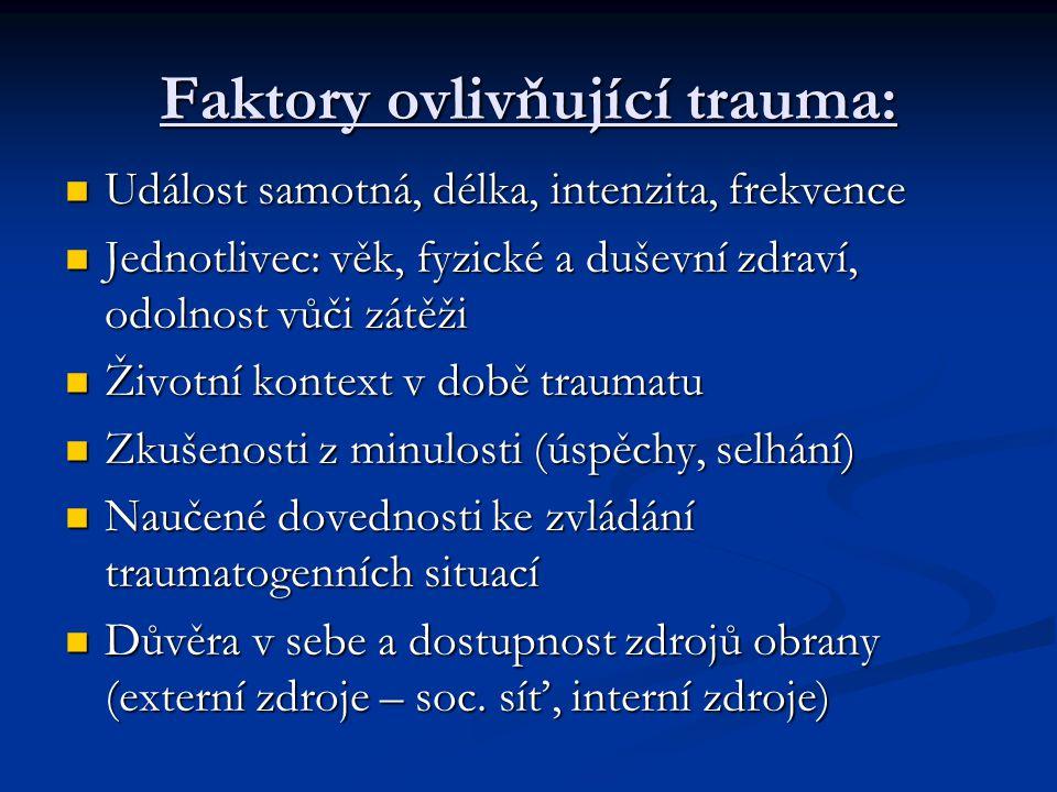 Faktory ovlivňující trauma: Událost samotná, délka, intenzita, frekvence Událost samotná, délka, intenzita, frekvence Jednotlivec: věk, fyzické a duševní zdraví, odolnost vůči zátěži Jednotlivec: věk, fyzické a duševní zdraví, odolnost vůči zátěži Životní kontext v době traumatu Životní kontext v době traumatu Zkušenosti z minulosti (úspěchy, selhání) Zkušenosti z minulosti (úspěchy, selhání) Naučené dovednosti ke zvládání traumatogenních situací Naučené dovednosti ke zvládání traumatogenních situací Důvěra v sebe a dostupnost zdrojů obrany (externí zdroje – soc.