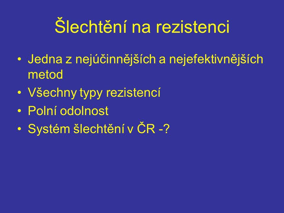 Šlechtění na rezistenci Jedna z nejúčinnějších a nejefektivnějších metod Všechny typy rezistencí Polní odolnost Systém šlechtění v ČR -?