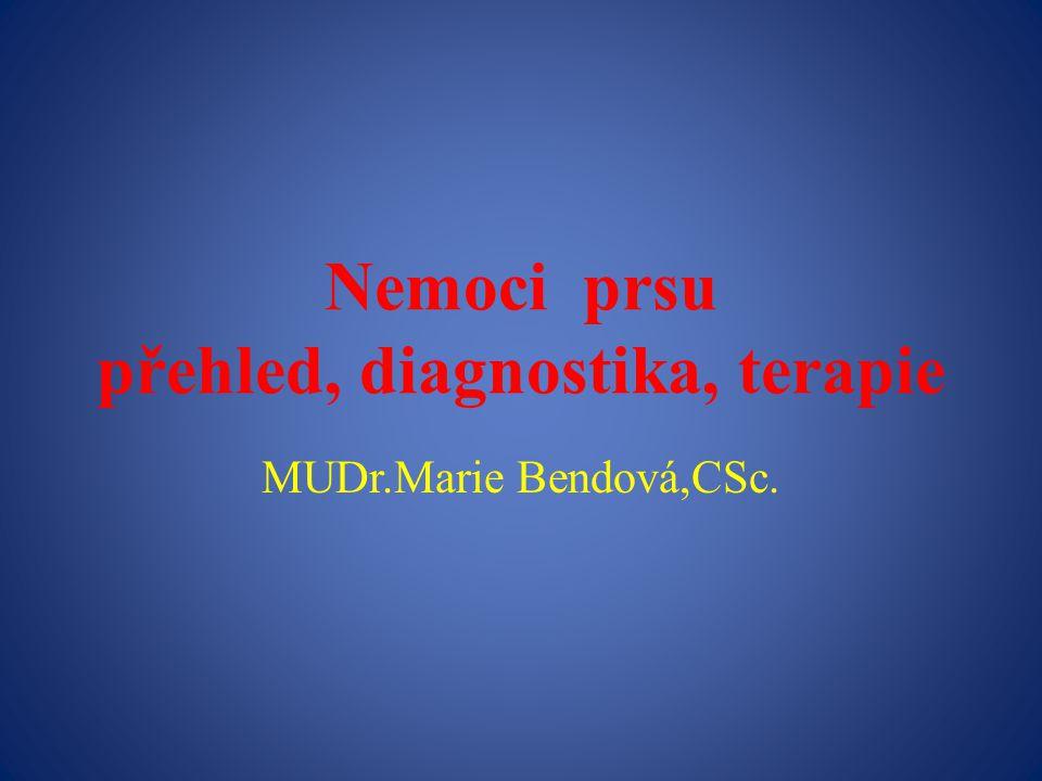 Nezhoubné tumory- epitelové, stromální, smíšené, vzácné Fibrom, fibromatosa Adenom Fibroadenom, sklerotický fibroadenom Fibrocystické změny Mastopatické uzly Lipom, fibroadenolipom Cysta, konvolut cyst Hyperplazie (duktální), apokrinní cysty Adenóza,sklerozující adenóza, radiální jizva Makro-, mikrokalcifikace Fyloidní tumor hamartom