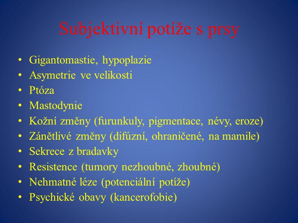 Subjektivní potíže s prsy Gigantomastie, hypoplazie Asymetrie ve velikosti Ptóza Mastodynie Kožní změny (furunkuly, pigmentace, névy, eroze) Zánětlivé změny (difúzní, ohraničené, na mamile) Sekrece z bradavky Resistence (tumory nezhoubné, zhoubné) Nehmatné léze (potenciální potíže) Psychické obavy (kancerofobie)