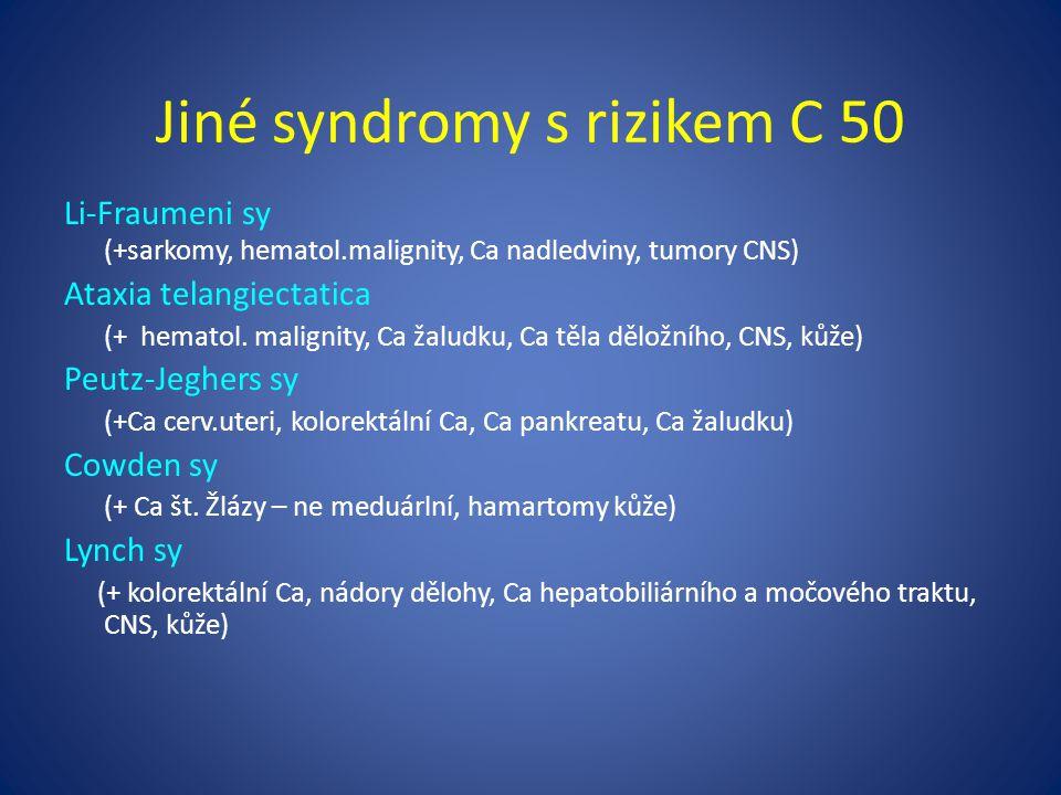 Jiné syndromy s rizikem C 50 Li-Fraumeni sy (+sarkomy, hematol.malignity, Ca nadledviny, tumory CNS) Ataxia telangiectatica (+ hematol.