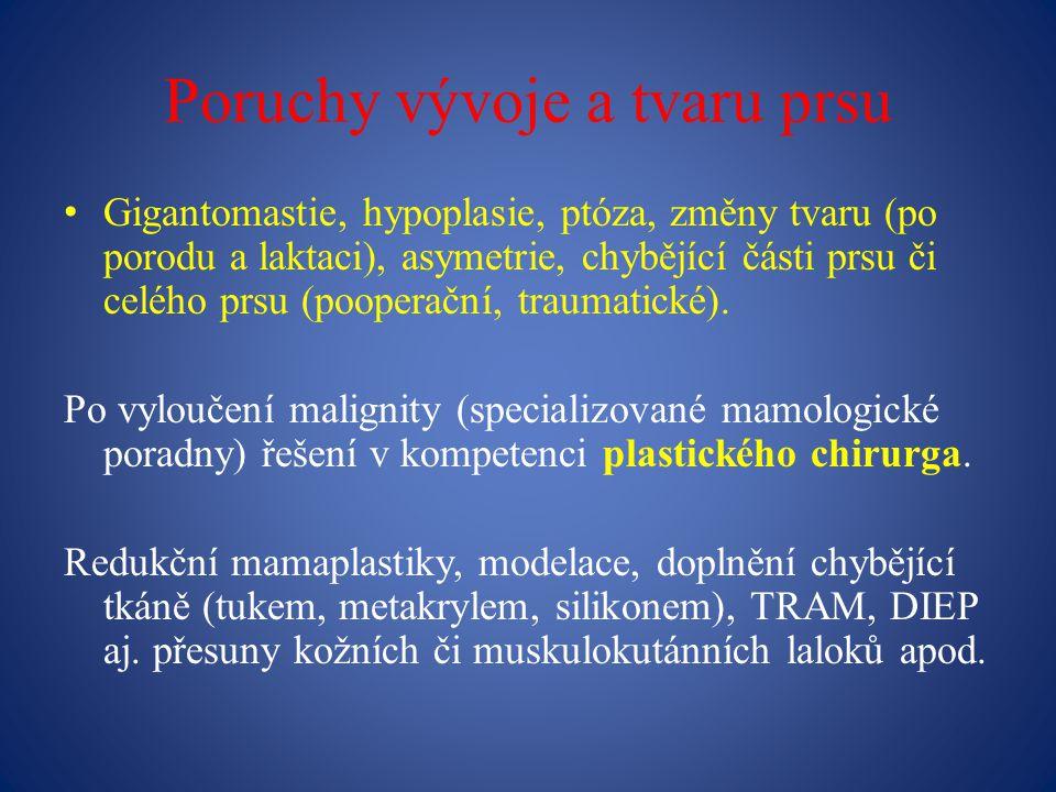 Poruchy vývoje a tvaru prsu Gigantomastie, hypoplasie, ptóza, změny tvaru (po porodu a laktaci), asymetrie, chybějící části prsu či celého prsu (pooperační, traumatické).