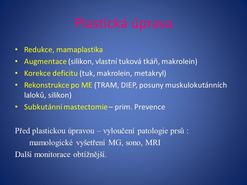 Plastická úprava Redukce, mamaplastika Augmentace (silikon, vlastní tuková tkáň, makrolein) Korekce deficitu (tuk, makrolein, metakryl) Rekonstrukce po ME (TRAM, DIEP, posuny muskulokutánních laloků, silikon) Subkutánní mastectomie – prim.