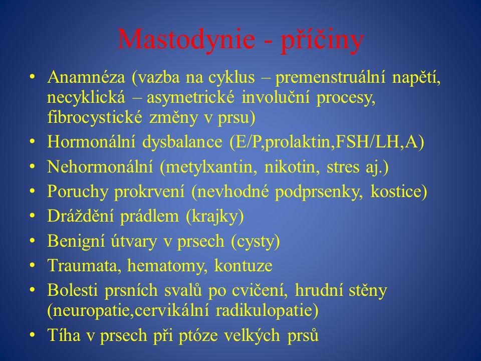 Mastodynie - příčiny Anamnéza (vazba na cyklus – premenstruální napětí, necyklická – asymetrické involuční procesy, fibrocystické změny v prsu) Hormonální dysbalance (E/P,prolaktin,FSH/LH,A) Nehormonální (metylxantin, nikotin, stres aj.) Poruchy prokrvení (nevhodné podprsenky, kostice) Dráždění prádlem (krajky) Benigní útvary v prsech (cysty) Traumata, hematomy, kontuze Bolesti prsních svalů po cvičení, hrudní stěny (neuropatie,cervikální radikulopatie) Tíha v prsech při ptóze velkých prsů