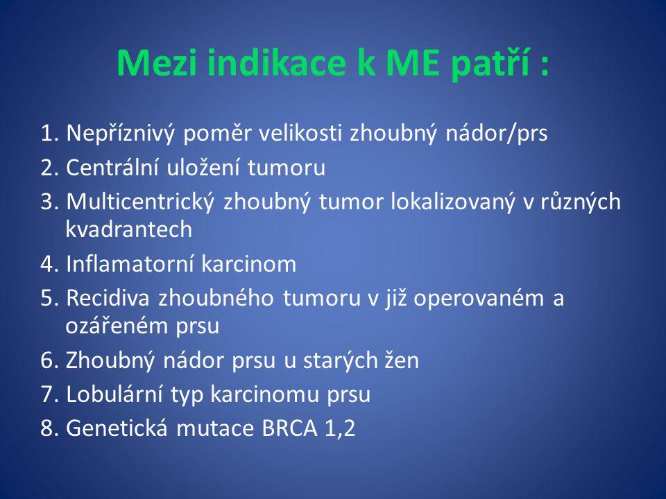 Mezi indikace k ME patří : 1.Nepříznivý poměr velikosti zhoubný nádor/prs 2.