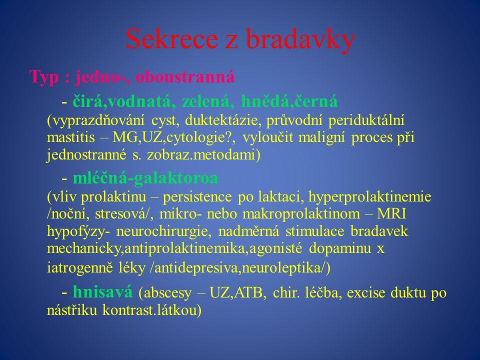 Sekrece z bradavky Typ : jedno-, oboustranná - čirá,vodnatá, zelená, hnědá,černá (vyprazdňování cyst, duktektázie, průvodní periduktální mastitis – MG,UZ,cytologie?, vyloučit maligní proces při jednostranné s.