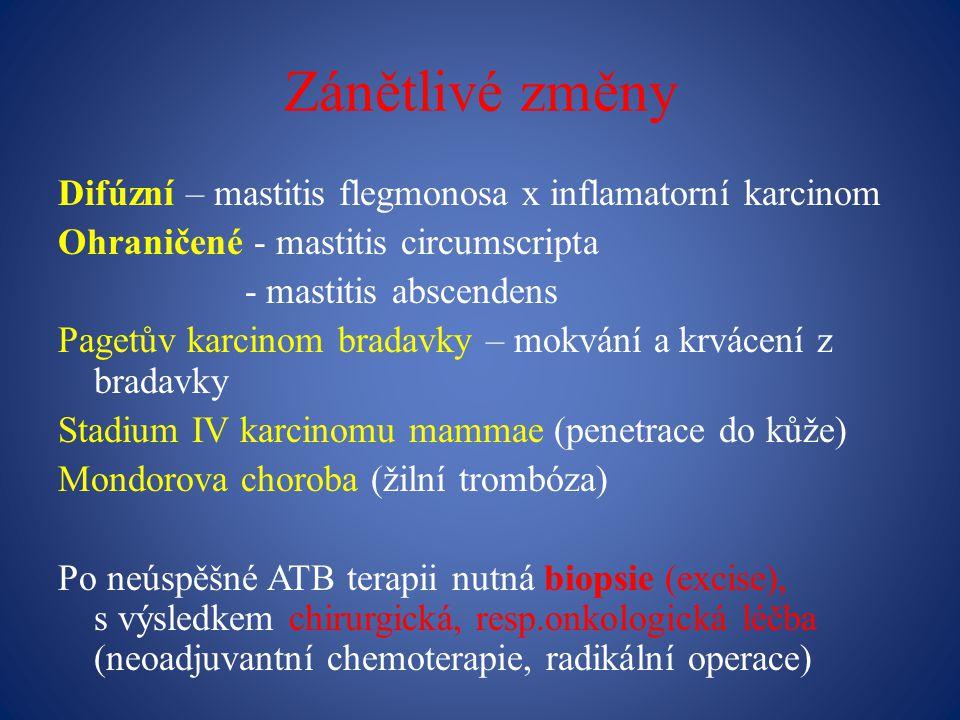 Zánětlivé změny Difúzní – mastitis flegmonosa x inflamatorní karcinom Ohraničené - mastitis circumscripta - mastitis abscendens Pagetův karcinom bradavky – mokvání a krvácení z bradavky Stadium IV karcinomu mammae (penetrace do kůže) Mondorova choroba (žilní trombóza) Po neúspěšné ATB terapii nutná biopsie (excise), s výsledkem chirurgická, resp.onkologická léčba (neoadjuvantní chemoterapie, radikální operace)
