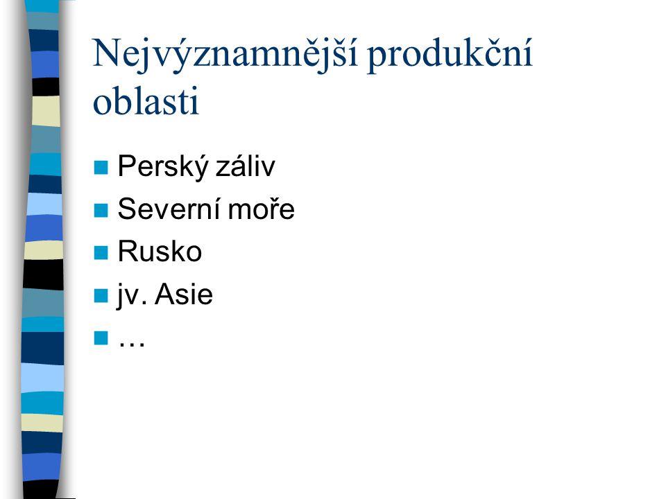 Nejvýznamnější produkční oblasti Perský záliv Severní moře Rusko jv. Asie …