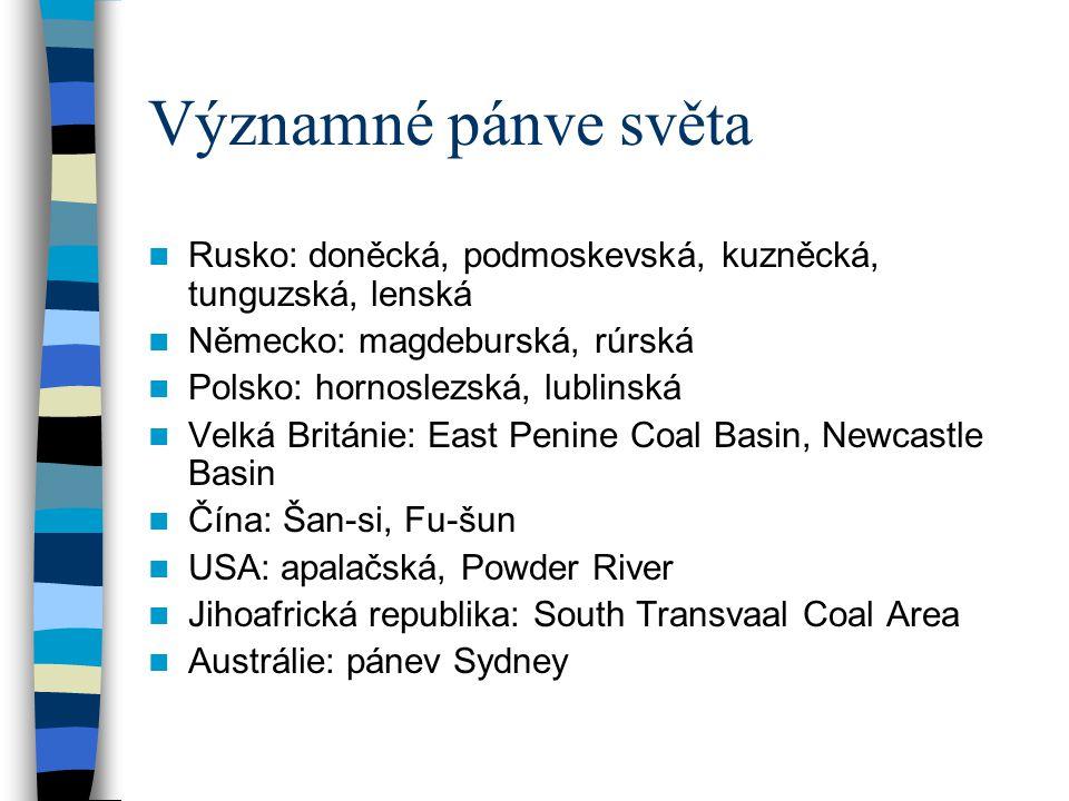 Významné pánve světa Rusko: doněcká, podmoskevská, kuzněcká, tunguzská, lenská Německo: magdeburská, rúrská Polsko: hornoslezská, lublinská Velká Brit