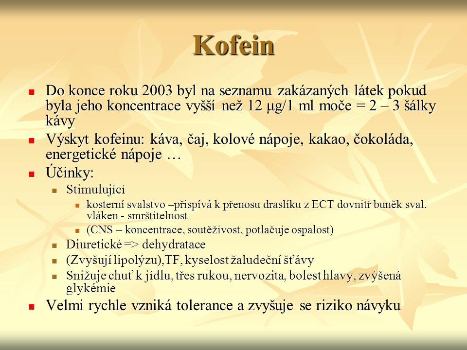 Kofein Do konce roku 2003 byl na seznamu zakázaných látek pokud byla jeho koncentrace vyšší než 12 μg/1 ml moče = 2 – 3 šálky kávy Do konce roku 2003