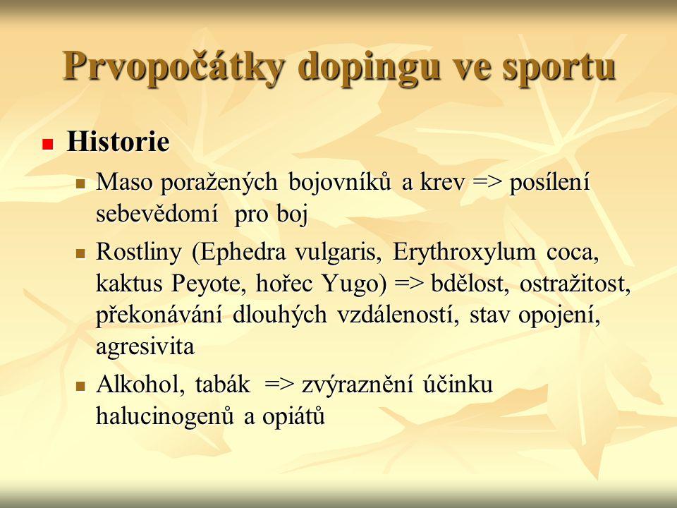 Prvopočátky dopingu ve sportu Historie Historie Maso poražených bojovníků a krev => posílení sebevědomí pro boj Maso poražených bojovníků a krev => po