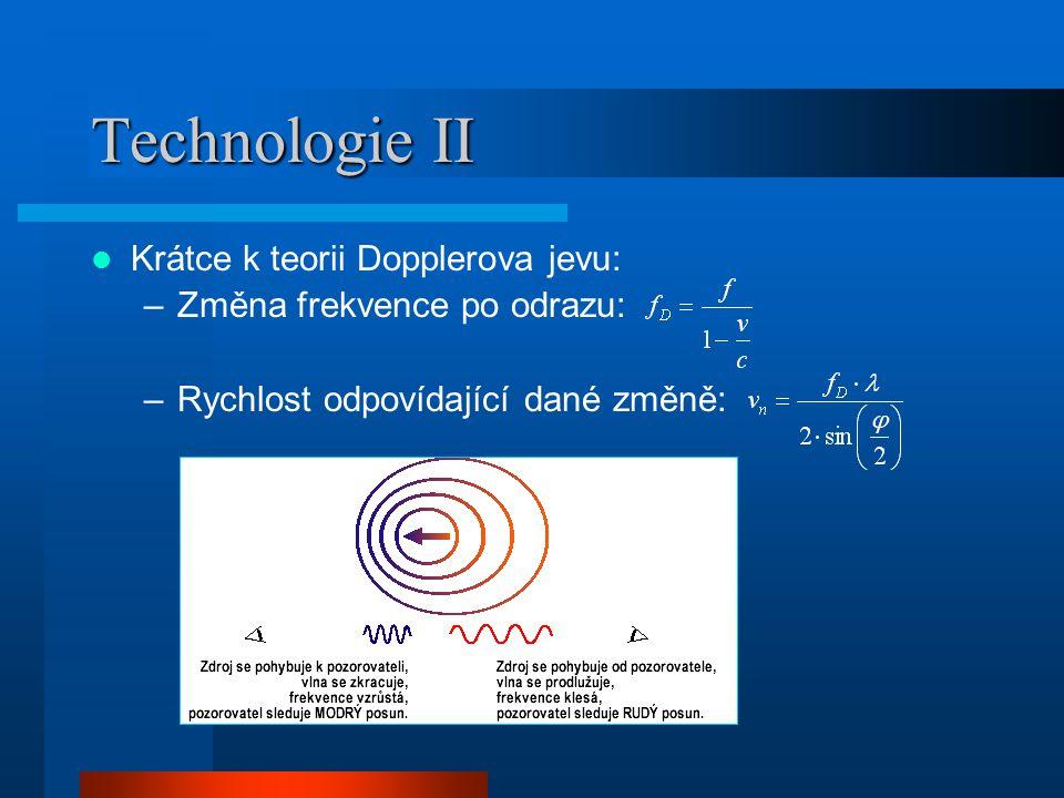 Technologie II Krátce k teorii Dopplerova jevu: –Změna frekvence po odrazu: –Rychlost odpovídající dané změně: