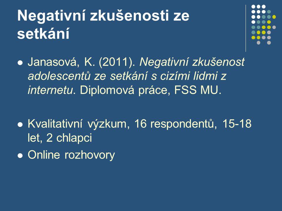 Negativní zkušenosti ze setkání Janasová, K. (2011).