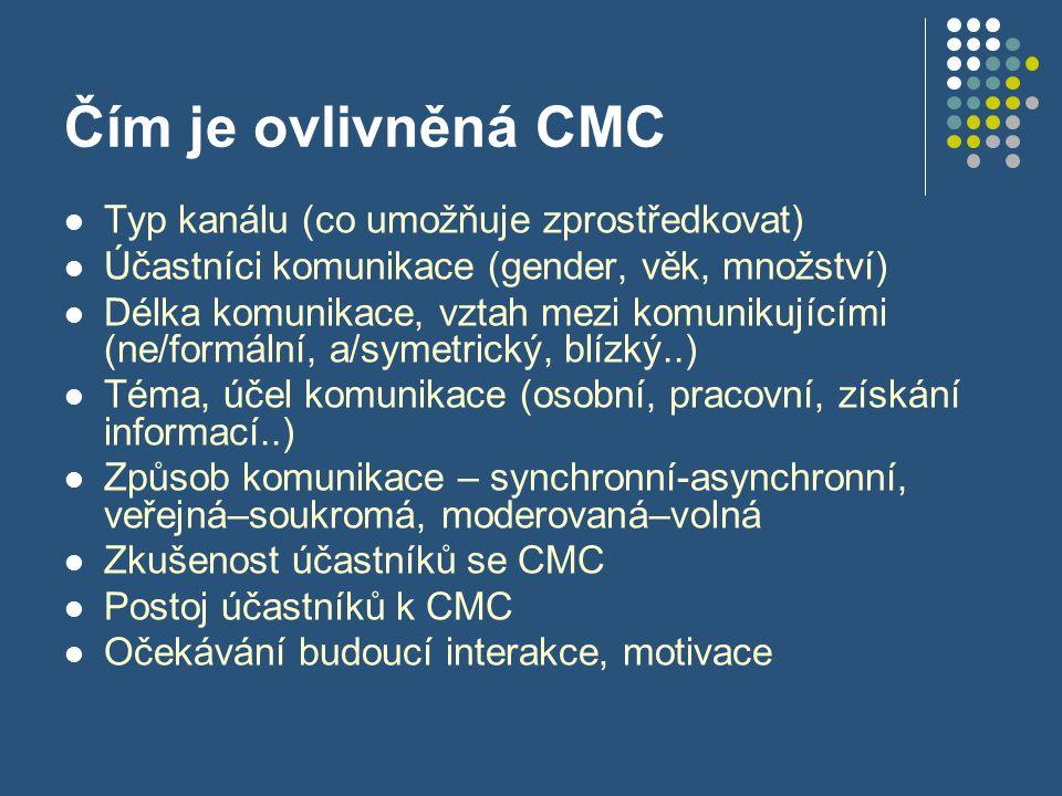 Čím je ovlivněná CMC Typ kanálu (co umožňuje zprostředkovat) Účastníci komunikace (gender, věk, množství) Délka komunikace, vztah mezi komunikujícími (ne/formální, a/symetrický, blízký..) Téma, účel komunikace (osobní, pracovní, získání informací..) Způsob komunikace – synchronní-asynchronní, veřejná–soukromá, moderovaná–volná Zkušenost účastníků se CMC Postoj účastníků k CMC Očekávání budoucí interakce, motivace