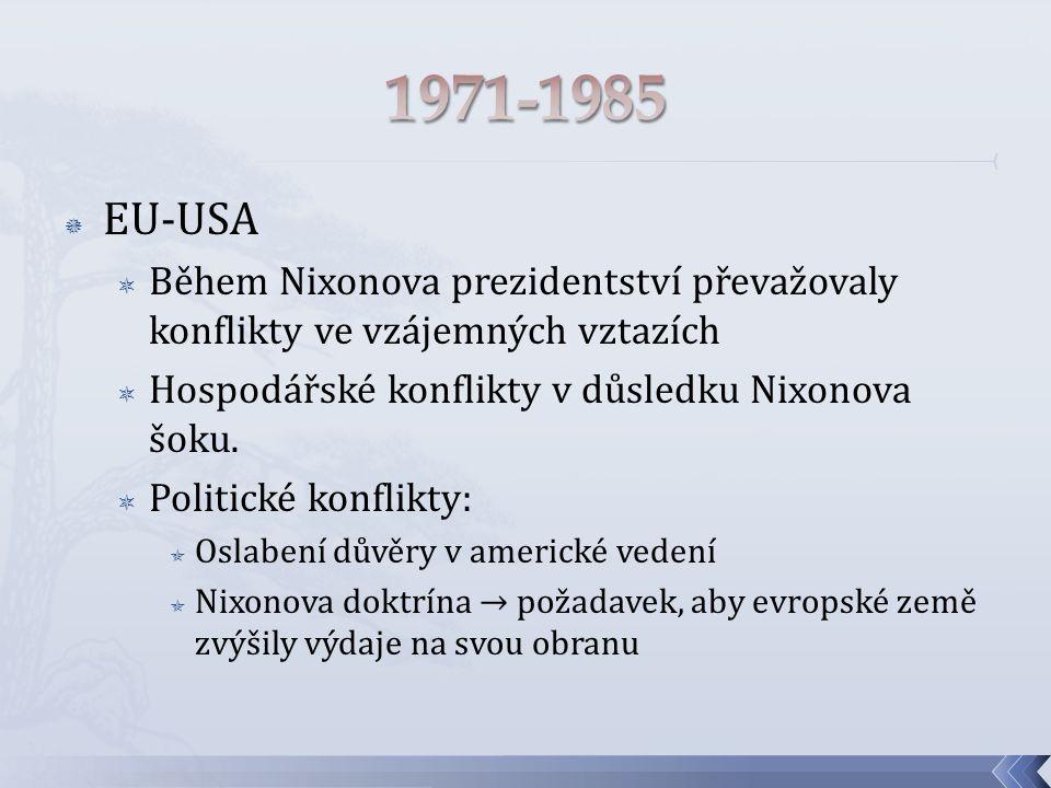  EU-USA  Během Nixonova prezidentství převažovaly konflikty ve vzájemných vztazích  Hospodářské konflikty v důsledku Nixonova šoku.