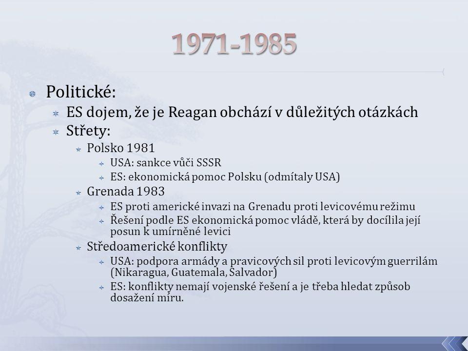  Politické:  ES dojem, že je Reagan obchází v důležitých otázkách  Střety:  Polsko 1981  USA: sankce vůči SSSR  ES: ekonomická pomoc Polsku (odmítaly USA)  Grenada 1983  ES proti americké invazi na Grenadu proti levicovému režimu  Řešení podle ES ekonomická pomoc vládě, která by docílila její posun k umírněné levici  Středoamerické konflikty  USA: podpora armády a pravicových sil proti levicovým guerrilám (Nikaragua, Guatemala, Salvador)  ES: konflikty nemají vojenské řešení a je třeba hledat způsob dosažení míru.