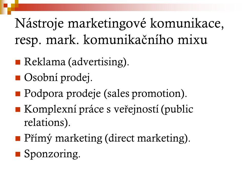Nástroje marketingové komunikace, resp. mark. komunika č ního mixu Reklama (advertising). Osobní prodej. Podpora prodeje (sales promotion). Komplexní