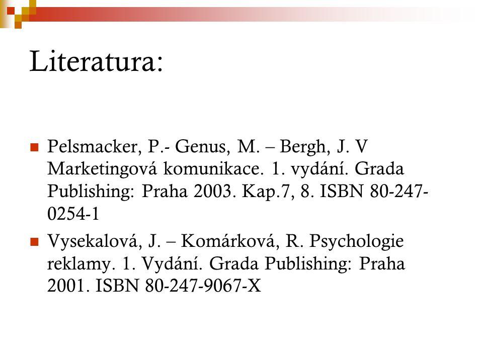 Literatura: Pelsmacker, P.- Genus, M. – Bergh, J. V Marketingová komunikace. 1. vydání. Grada Publishing: Praha 2003. Kap.7, 8. ISBN 80-247- 0254-1 Vy