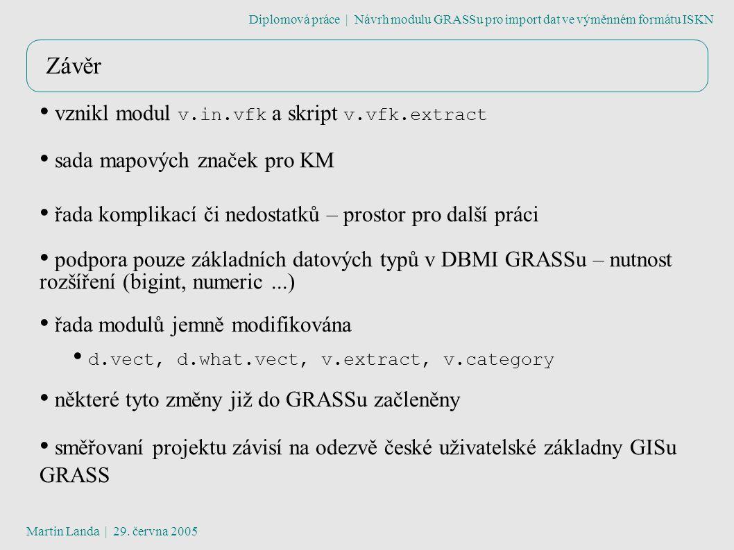 Závěr Diplomová práce | Návrh modulu GRASSu pro import dat ve výměnném formátu ISKN Martin Landa | 29.