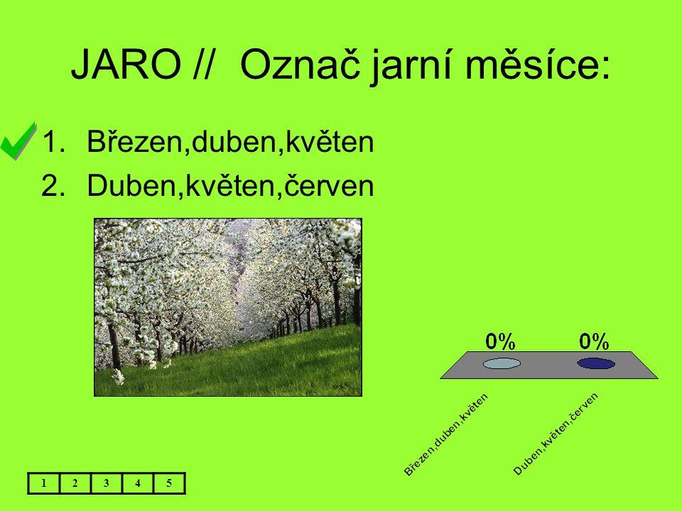 JARO // Označ jarní měsíce: 12345 1.Březen,duben,květen 2.Duben,květen,červen