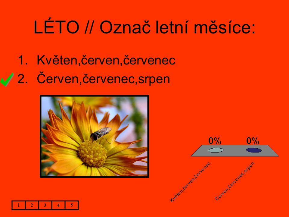LÉTO // Označ letní měsíce: 12345 1.Květen,červen,červenec 2.Červen,červenec,srpen