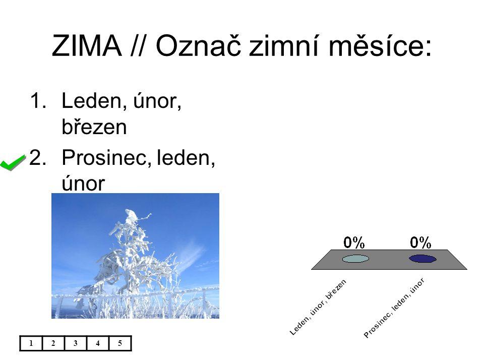 ZIMA // Označ zimní měsíce: 1.Leden, únor, březen 2.Prosinec, leden, únor 12345