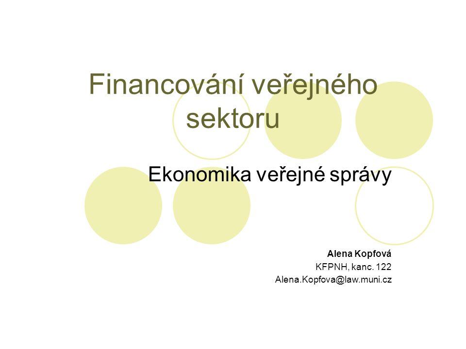 Financování veřejného sektoru Ekonomika veřejné správy Alena Kopfová KFPNH, kanc. 122 Alena.Kopfova@law.muni.cz