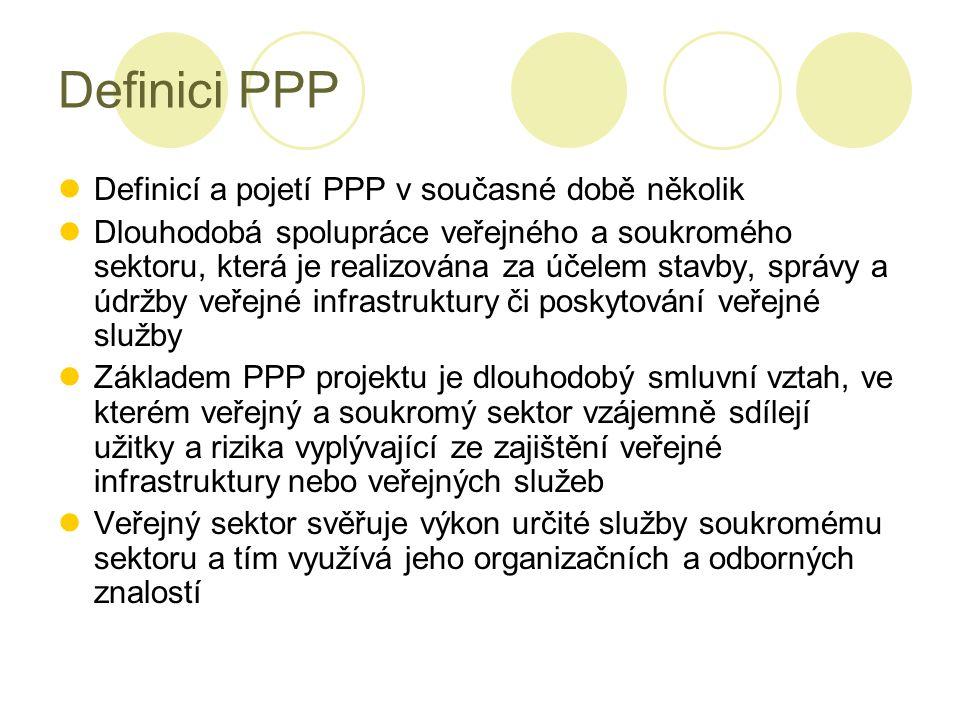 Definici PPP Definicí a pojetí PPP v současné době několik Dlouhodobá spolupráce veřejného a soukromého sektoru, která je realizována za účelem stavby