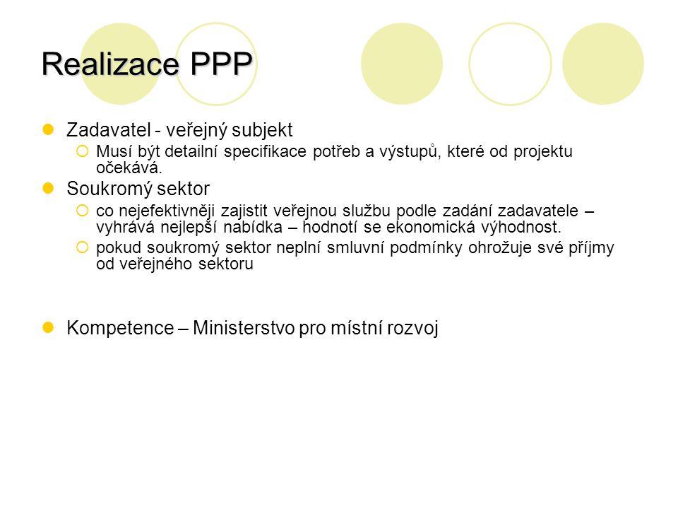 Realizace PPP Zadavatel - veřejný subjekt  Musí být detailní specifikace potřeb a výstupů, které od projektu očekává. Soukromý sektor  co nejefektiv