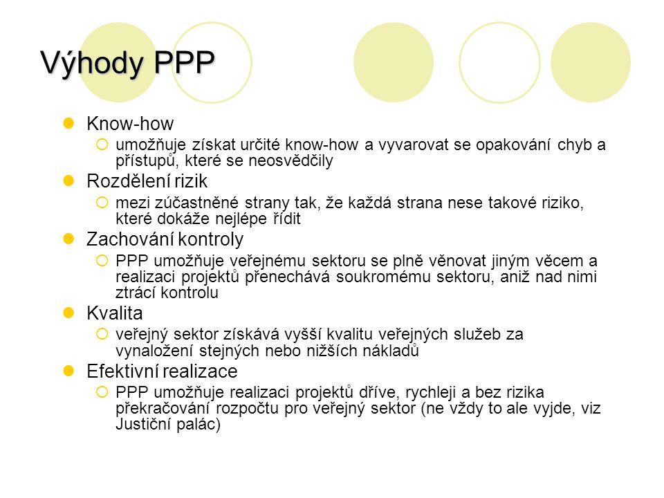 Výhody PPP Know-how  umožňuje získat určité know-how a vyvarovat se opakování chyb a přístupů, které se neosvědčily Rozdělení rizik  mezi zúčastněné