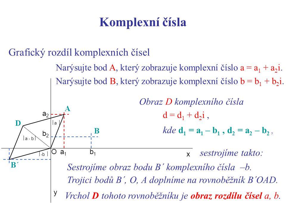 Grafický rozdíl komplexních čísel x y b1b1 b2b2 B Narýsujte bod A, který zobrazuje komplexní číslo a = a 1 + a 2 i.