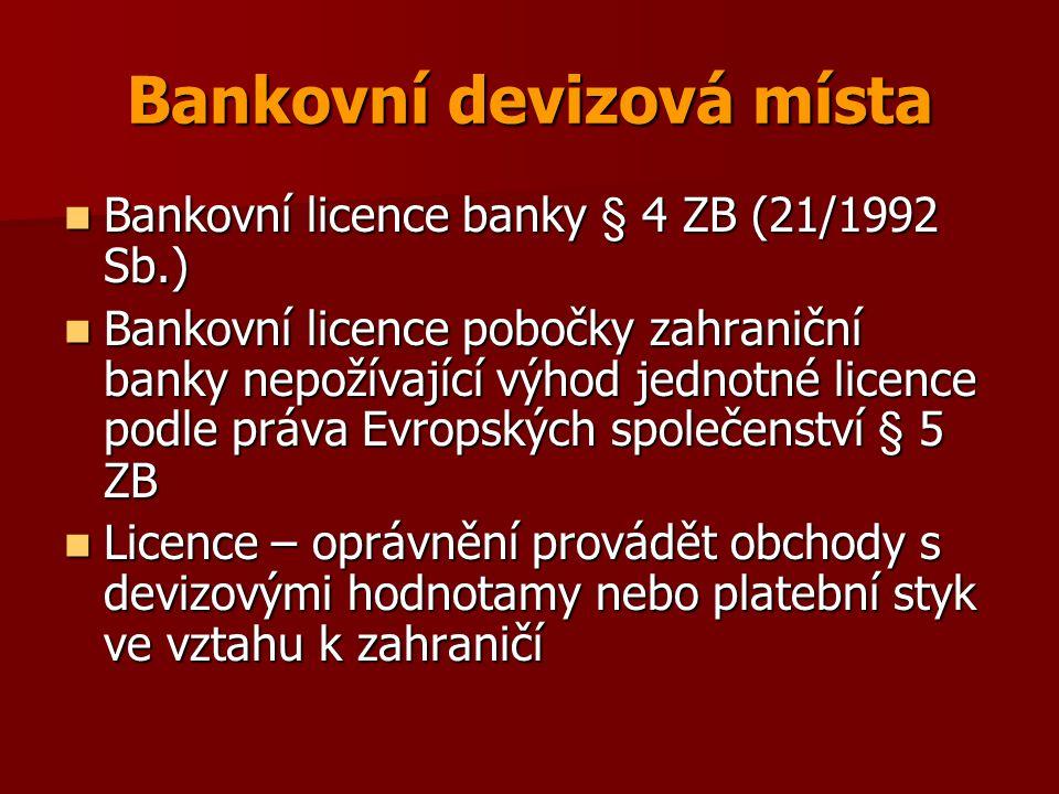 Kategorie devizových míst Bankovní devizová místa Bankovní devizová místa Nebankovní devizová místa s devizovou licencí Nebankovní devizová místa s devizovou licencí Koncesionářská devizová místa Koncesionářská devizová místa Devizová místa s jednotnou licencí Devizová místa s jednotnou licencí