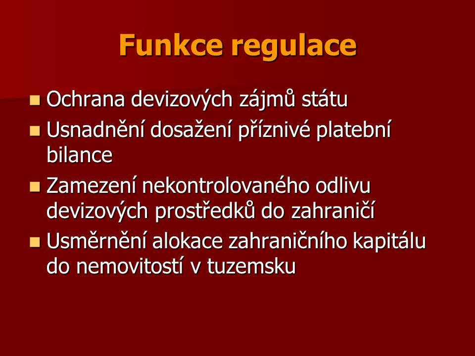 Funkce regulace Ochrana devizových zájmů státu Ochrana devizových zájmů státu Usnadnění dosažení příznivé platební bilance Usnadnění dosažení příznivé platební bilance Zamezení nekontrolovaného odlivu devizových prostředků do zahraničí Zamezení nekontrolovaného odlivu devizových prostředků do zahraničí Usměrnění alokace zahraničního kapitálu do nemovitostí v tuzemsku Usměrnění alokace zahraničního kapitálu do nemovitostí v tuzemsku