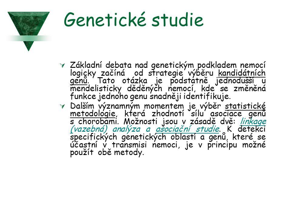 Genetické studie  Základní debata nad genetickým podkladem nemocí logicky začíná od strategie výběru kandidátních genů. Tato otázka je podstatně jedn