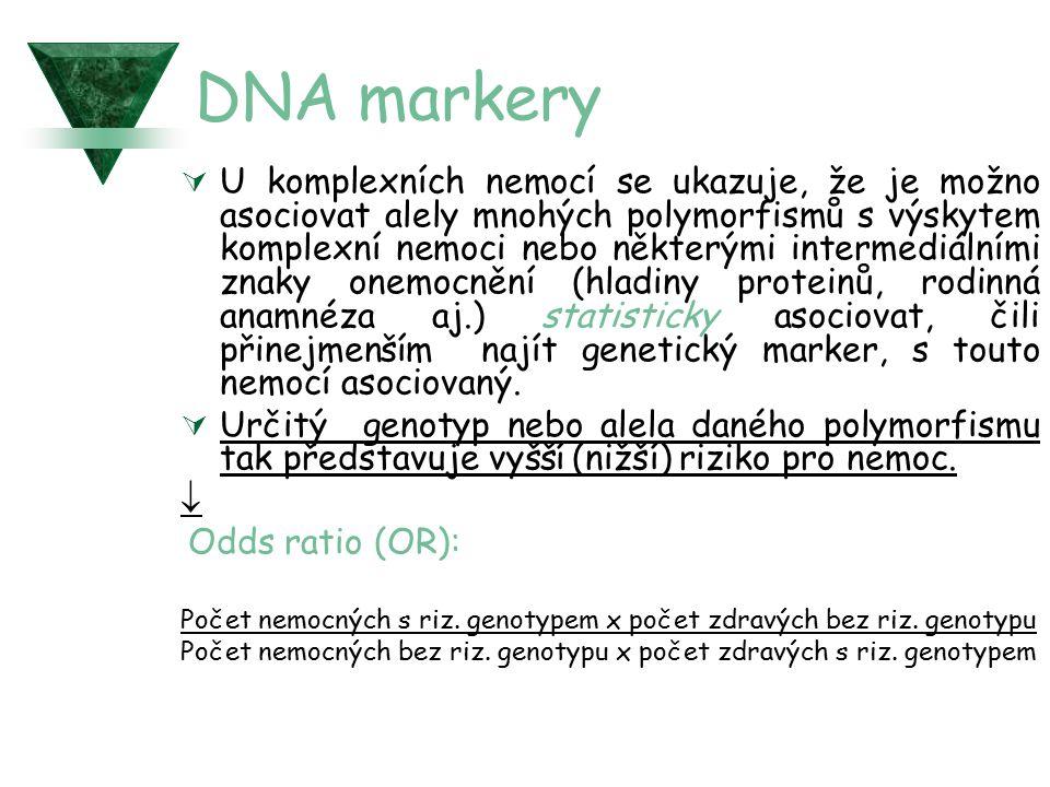 DNA markery  U komplexních nemocí se ukazuje, že je možno asociovat alely mnohých polymorfismů s výskytem komplexní nemoci nebo některými intermediál