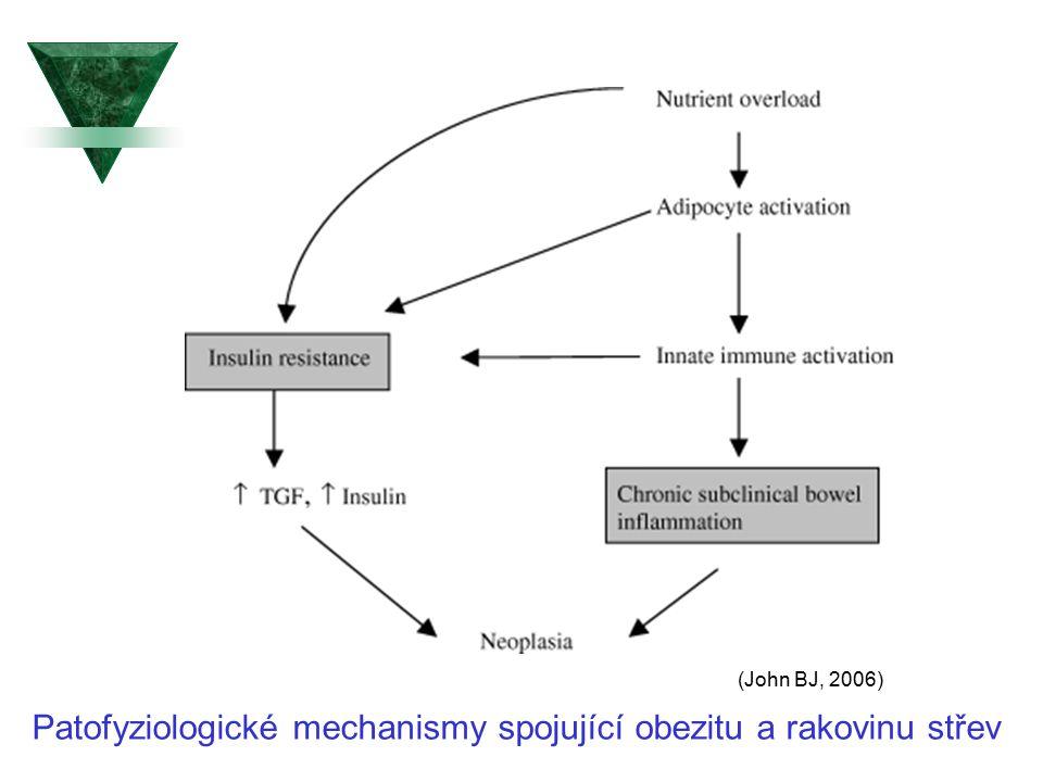 Patofyziologické mechanismy spojující obezitu a rakovinu střev (John BJ, 2006)