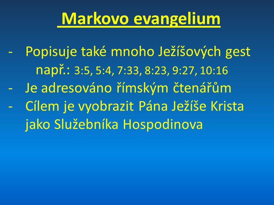 Porovnání evangelií Autor Adresáti Důraz Znázornění Matouš židé vyučování Zaslíbený Mesiáš (Král) Marek římané zázraky Trpící služebník Hospodinův (Zachránce) Lukáš řekové/pohané podobenství Syn člověka bez hříchu (člověk) Jan všem/křesťané doktríny Dokonalý Syn Boží (Bůh)