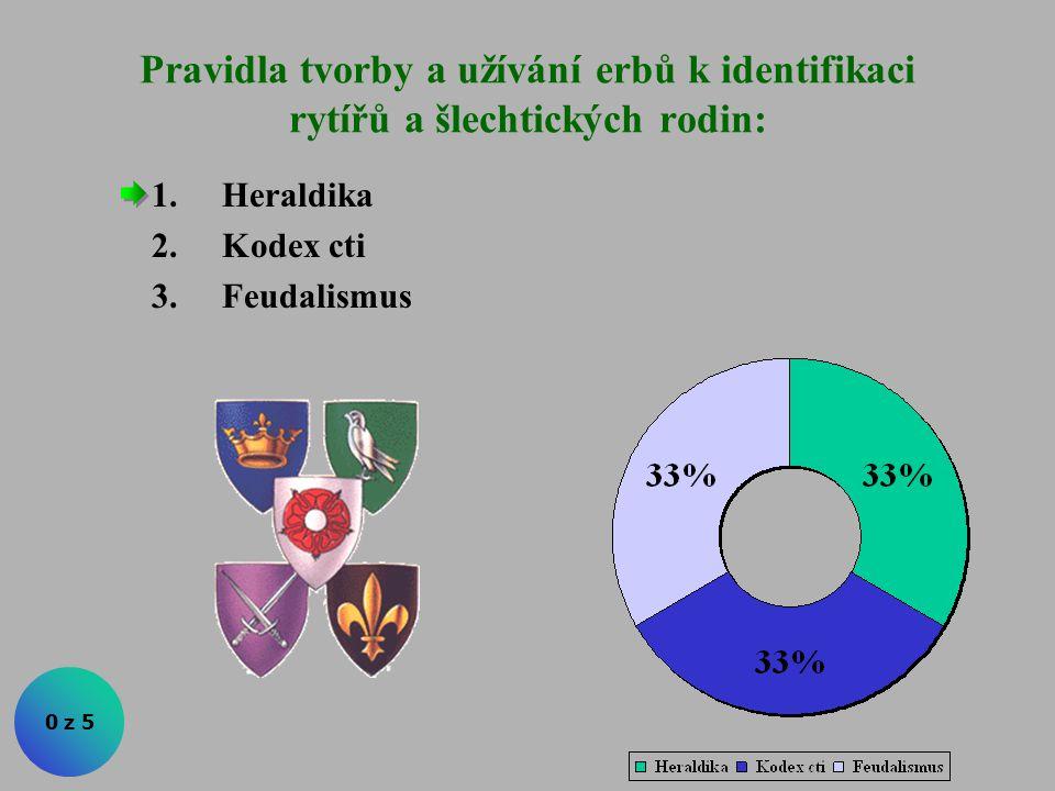 Pravidla tvorby a užívání erbů k identifikaci rytířů a šlechtických rodin: 0 z 5 1.Heraldika 2.Kodex cti 3.Feudalismus