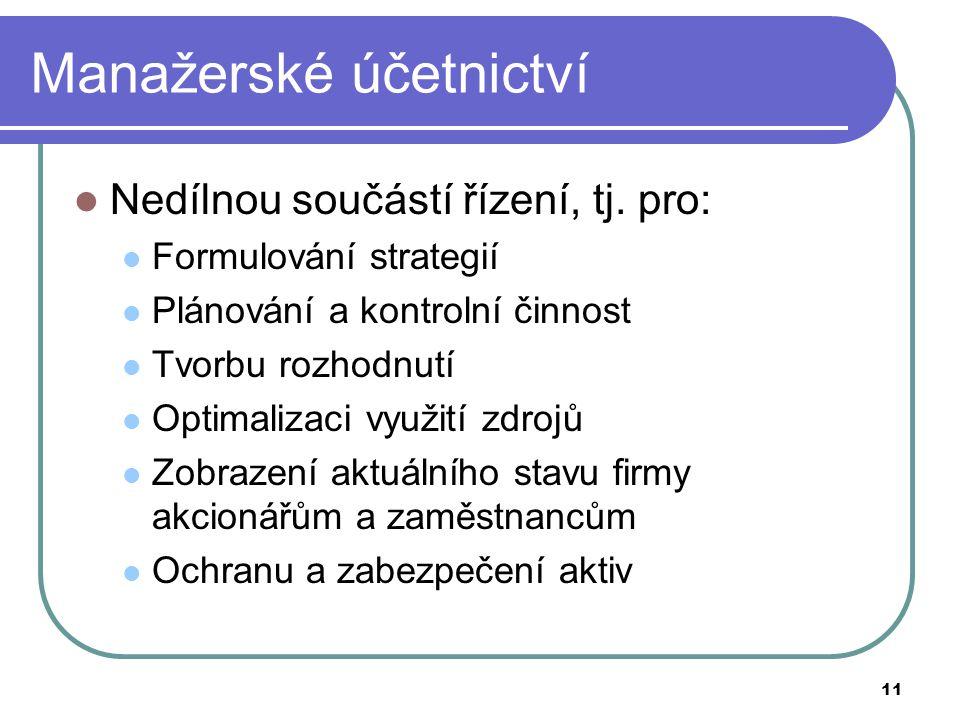 11 Manažerské účetnictví Nedílnou součástí řízení, tj. pro: Formulování strategií Plánování a kontrolní činnost Tvorbu rozhodnutí Optimalizaci využití