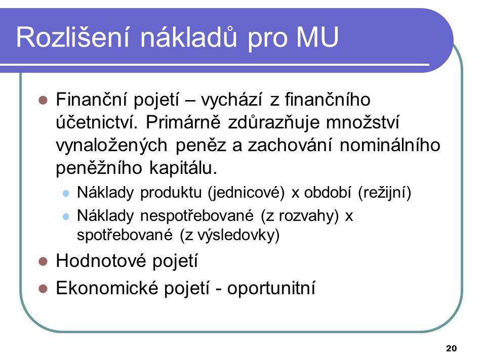 20 Rozlišení nákladů pro MU Finanční pojetí – vychází z finančního účetnictví. Primárně zdůrazňuje množství vynaložených peněz a zachování nominálního