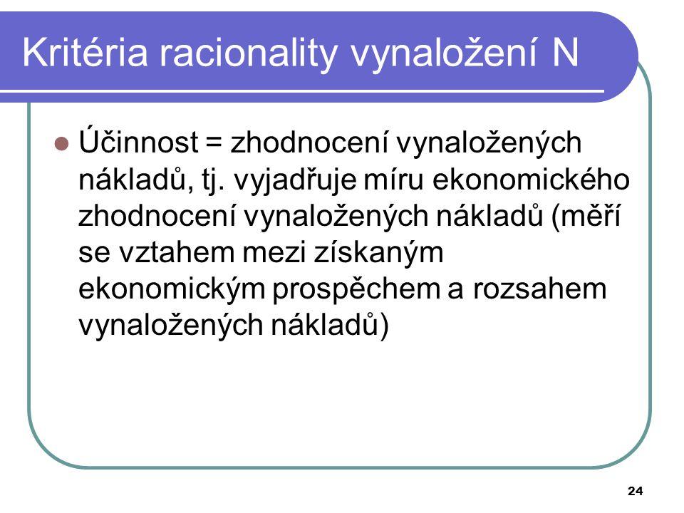 24 Kritéria racionality vynaložení N Účinnost = zhodnocení vynaložených nákladů, tj. vyjadřuje míru ekonomického zhodnocení vynaložených nákladů (měří