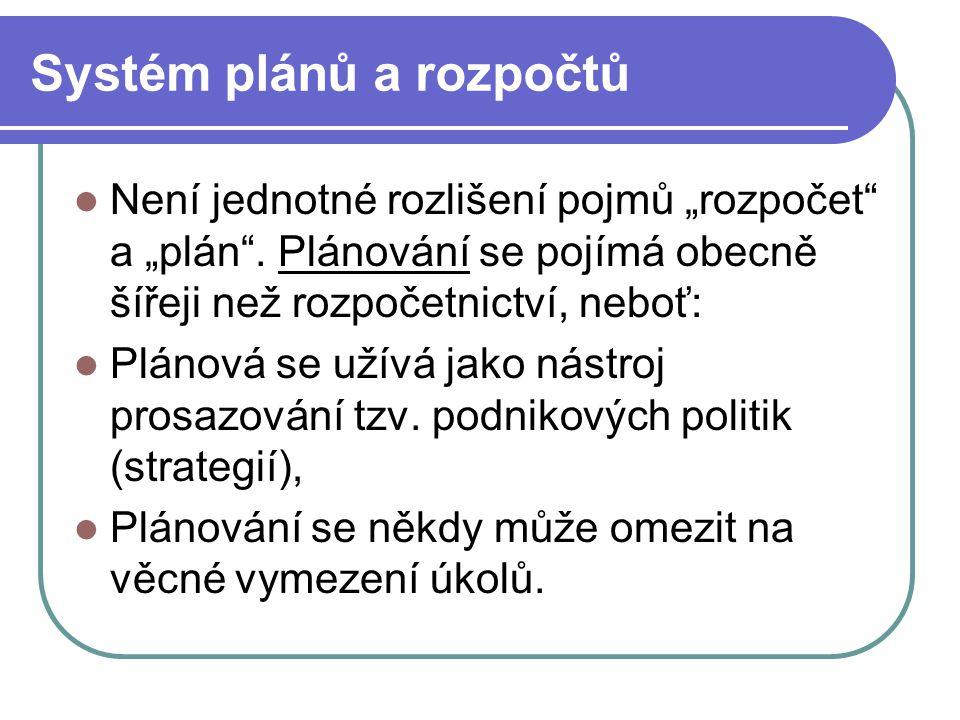 """Systém plánů a rozpočtů Není jednotné rozlišení pojmů """"rozpočet"""" a """"plán"""". Plánování se pojímá obecně šířeji než rozpočetnictví, neboť: Plánová se uží"""