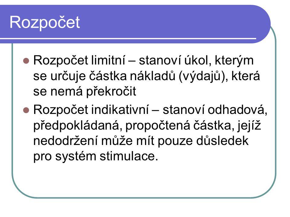 Rozpočet Rozpočet limitní – stanoví úkol, kterým se určuje částka nákladů (výdajů), která se nemá překročit Rozpočet indikativní – stanoví odhadová, p