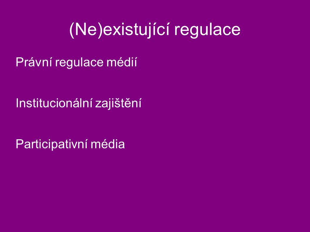 (Ne)existující regulace Právní regulace médií Institucionální zajištění Participativní média